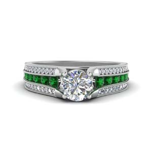 3-row-diamond-milgrain-engagement-ring-with-emerald-in-FD8680RORGEMGR-NL-WG