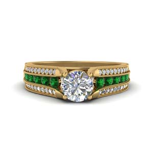 3 Row Milgrain Ring With Emerald