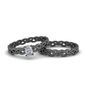 Braided Solitaire Bridal Ring Set