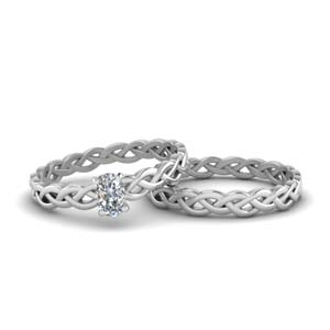 Braided Solitaire Diamond Bridal Set
