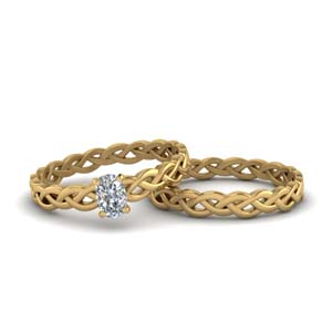 Twisted Braided Solitaire Ring Set
