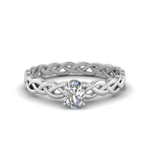 Braided Single Diamond Eternity Ring