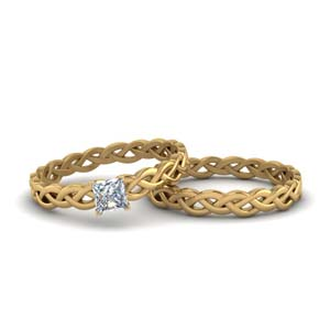 Princess Braided Solitaire Ring Set