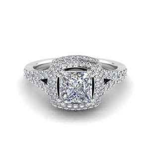 Princess Cut Halo Wedding Ring