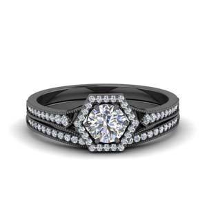 Hexagon Halo Diamond Bridal Set