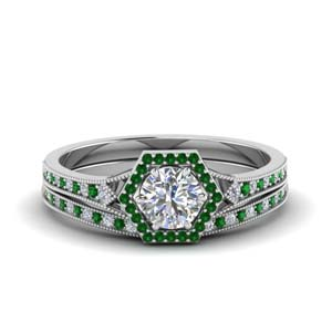 Round Diamond Halo Set With Emerald