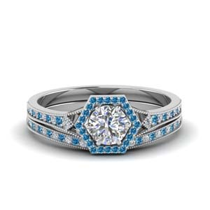 Platinum Ring Set With Topaz