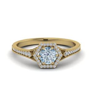 Aquamarine Halo Wedding Ring
