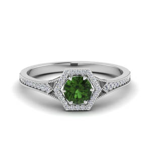 Emerald Halo Wedding Ring