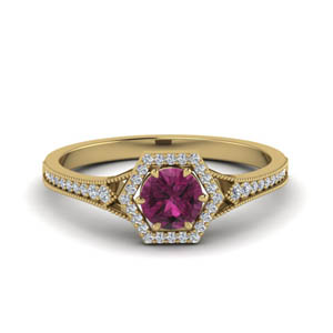 18K Gold Ring With Pink Sapphire