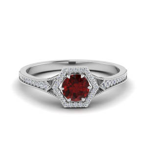 Ruby With Milgrain Halo Ring