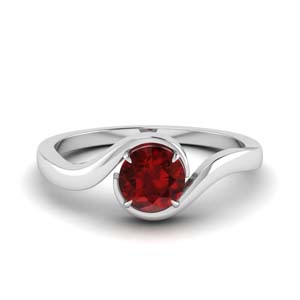 Swirl Solitaire Ruby Ring