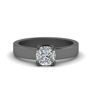 Flat Diamond Solitaire Ring