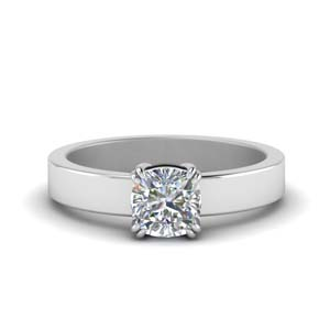 Platinum Flat Solitaire Ring