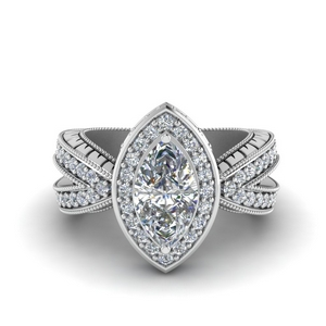 1.50 Ct. Vintage Marquise Halo Ring