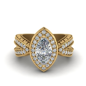 Vintage Marquise Halo Moissanite Ring