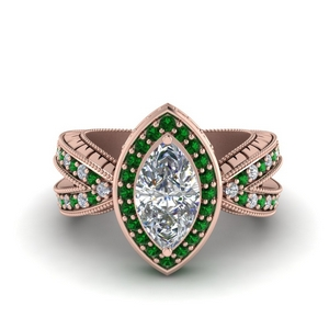 Emerald Engraved Diamond Ring