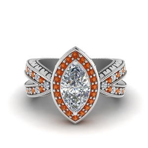 Orange Sapphire Halo Engagement Rings