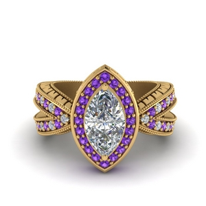 Marquise Halo Ring With Purple Topaz