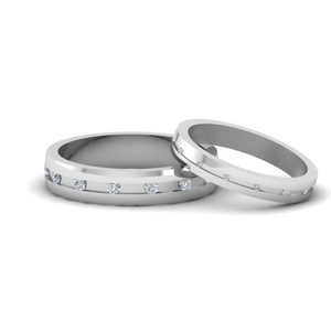 18K White Gold Bands For Him And Her
