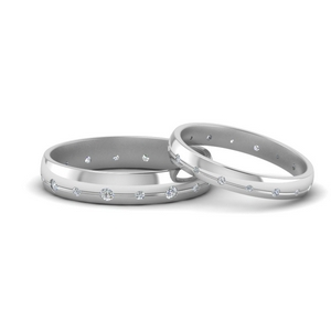 Flush Set Diamond Band For Couple