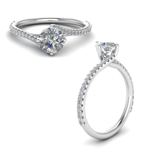 Petite Swirl Diamond Engagement Ring