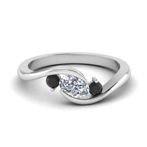 twist 3 stone engagement ring with black diamond in FD8896GBLACK NL WG