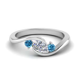 twist 3 stone engagement ring with blue topaz in FD8896GICBLTO NL WG
