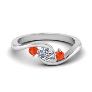 Twist Orange Topaz Engagement Ring