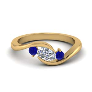 Twist 3 Stone Ring With Sapphire