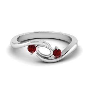 twist 3 stone semi mount engagement ring with ruby in FD8896SMGRUDR NL WG