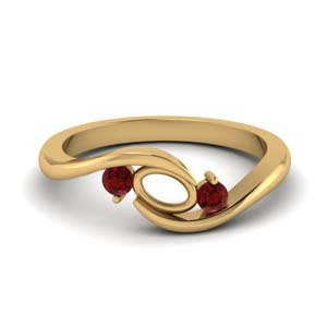 twist 3 stone semi mount engagement ring with ruby in FD8896SMGRUDR NL YG