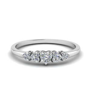 Delicate Heart Shape 5 Stone Ring