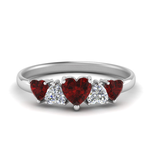 1.50 Ct. Ruby Heart Shaped Band