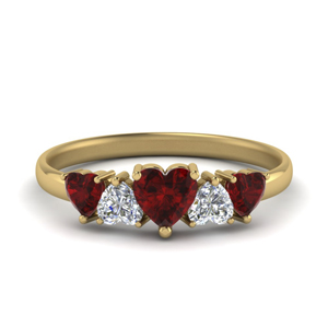Heart Diamond Wedding Band With Ruby