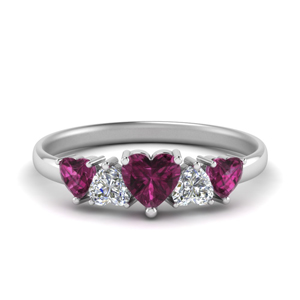 1.50-ct.-five-heart-diamond-wedding-band-with-pink-sapphire-in-FD8912GSADRPI-NL-WG