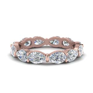 14K Rose Gold 3 Carat Pear Cut Band