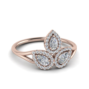 3 Pear Diamond Halo Ring