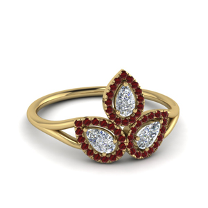 3 Pear Diamond Ring With Ruby