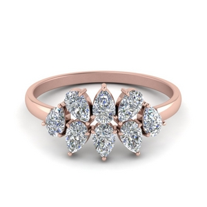 18K Rose Gold Cluster Wedding Band