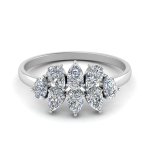Cluster Pear Shaped Diamond Band