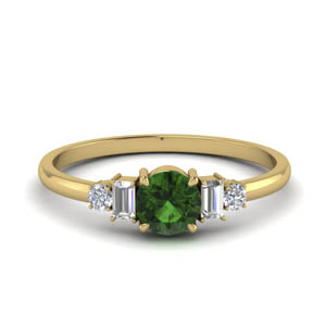 Delicate Baguette Emerald Ring