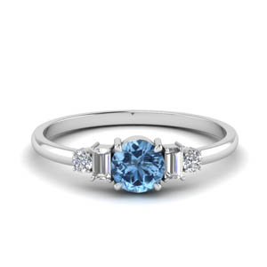Baguette Blue Topaz Ring