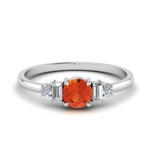 White Gold Orange Topaz Ring