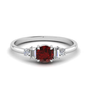 Ruby With Baguette Ring