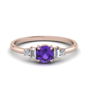 Purple Topaz With Baguette Ring