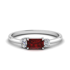 3 Stone Alternate  Ruby Wedding Ring