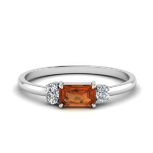 Three Stone Orange Sapphire Ring