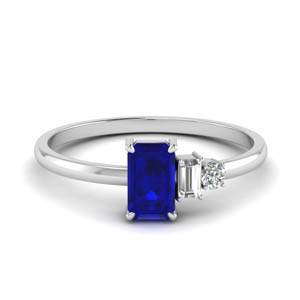 Baguette Wedding Ring With Sapphire