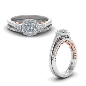 Cushion Cut Delicate Halo Ring Set